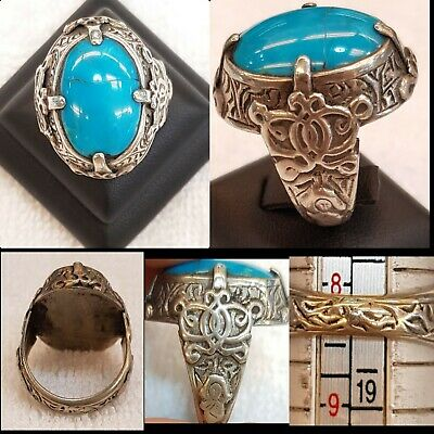 Beautiful Old Silver Ring with Wonderful Persian Nishapur Turquoise Stone # 5T