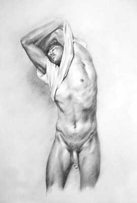 Undressing - Gay Nudes ~ Graphite Sketch, Signed!