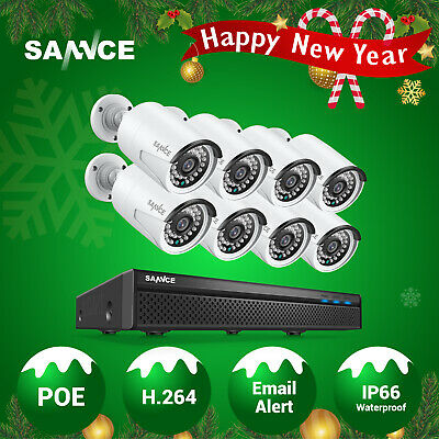 SANNCE 8CH 5MP NVR POE IP Network 1080P Audio Recording Security Camera System