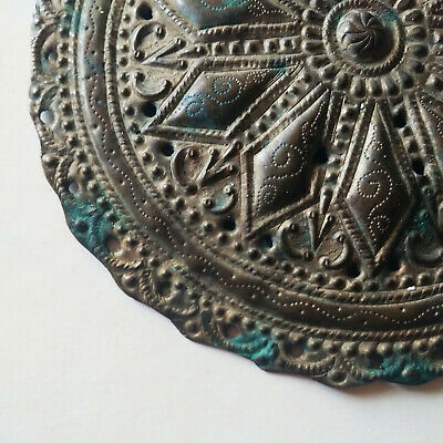 Ancient Byzantine bronze gilded ornament/adornment handmade carved details