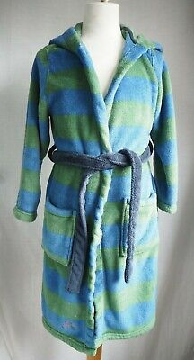 Joules Boys Dressing Gown Age 7-8 Yrs Blue Green