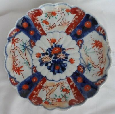 Antique JAPANESE IMARI PORCELAIN fluted plate c1900