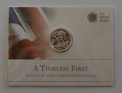 2013 The George and the Dragon £20 Fine Silver Coin Slight Toning