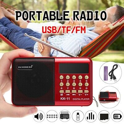 Mini Portable LCD Digital FM Radio Speaker USB TF Card MP3 Player Rechargeable