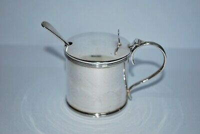 Silver Mustard Pot - HM Chester 1915 - Barker Brothers - Glass Liner & Spoon