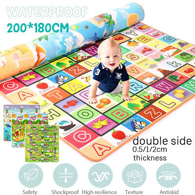 Baby Kids Play Mat Pad Floor Rug Picnic Cushion Crawling Mat Double Sides 2*1.8m