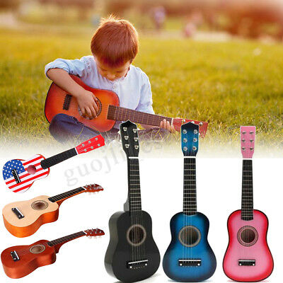 21'' Children Wooden Guitar Acoustic Prop Musical String Practice Gifts