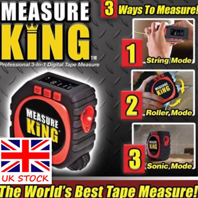 Measure King 3 In 1 Digital Tape Measure String Sonic Roller Mode Laser Tool UK