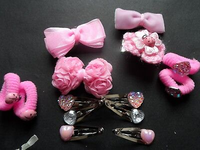 girls/baby/velvet /pink hair bow clips slides bendies small/mini snap clips sets