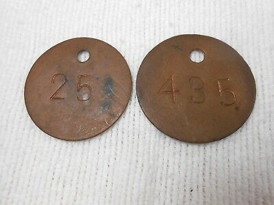 Lot of 2 Vintage Locker Tags, round brass #25 and #435