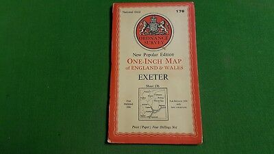 Sheet 176 Exeter OS Map One Inch Ordnance Survey 1940s  Paper