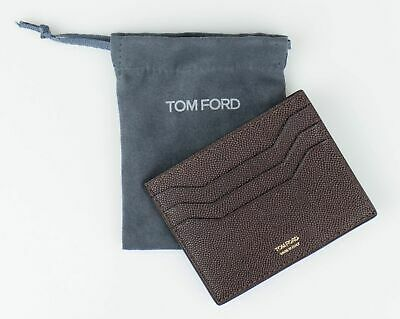 7c2a22c15 NWT TOM FORD Dark Brown 100% Pebbled Leather Open Side Card Holder Wallet  $290