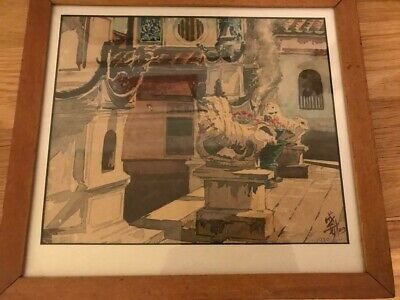 Hand Painted Vintage Water Colour  Dated  1930 Chinese  Good Condition