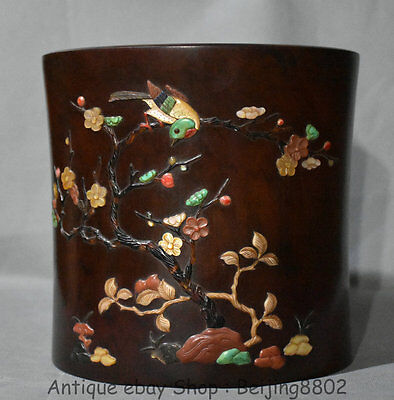 """8"""" Antique Chinese Blood Red Wood Inlay Shell Flower Birds Brush Pot Pencil Vase"""