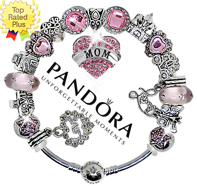 AUTHENTIC Pandora Bracelet Silver with Pink Black MOM Crystal European Charms