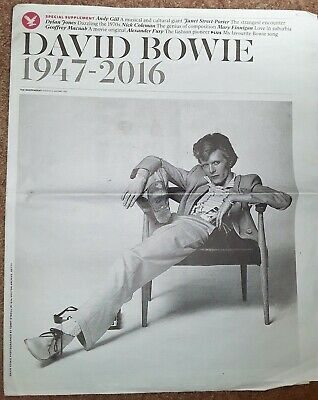 David Bowie Special Supplement Memorabilia Independent Newspaper 12 January 2016