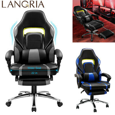 Executive High-Back Faux Leather Racing Reclining Computer Gaming Office Chair