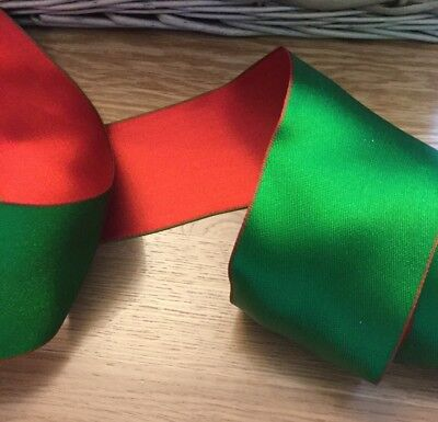 """Wired Ribbon, Red & Green, 6.3cm/2.5"""" wide, Gift Wrapping, Christmas, Bows etc"""
