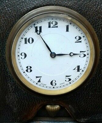 Lovely old antique vintage Swiss made travel clock for repair or restoration