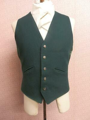 "Vintage Mens Green Silk Lined Show/Competition Waistcoat - 38"" Chest"