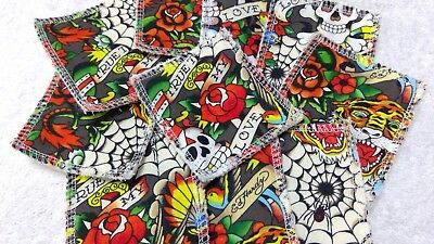 Reusable Make Up Remover Pads X 10 100% Cotton Ed Hardy True Love Grey Blue ECO