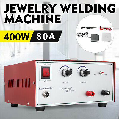 80A 400W Spot Welder Jewelry Welding Machine 110V cable forceps clamp red