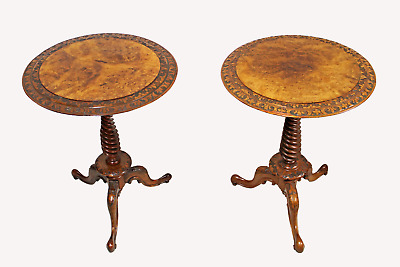 A Beautiful Matched Pair Of Victorian Burr Walnut Side Tables