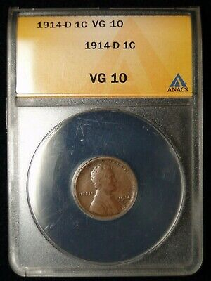Key Date 1914-D Lincoln Wheat Penny Cent Anacs Vg 10