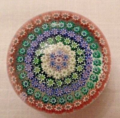 Perthshire Glass Scotland Pp4 Concentric 7 Row Millefiori Paperweight P Cane