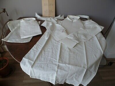 Pair Of Vintage1940's Mens Formal Dress Shirts And Three Collars Ww2