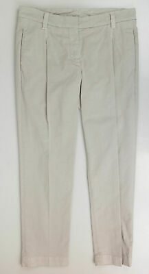 New BRUNELLO CUCINELLI Gray Cotton Blend Pleated Casual Pants Size 42/6 $975