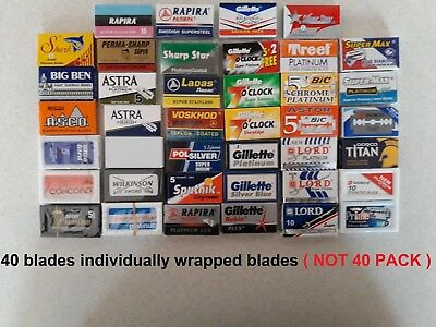 40 mixed Double Edge Safety DE Razor Blades sample pack (1 blade x type)  lot 2