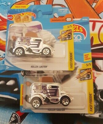 Hot wheels ROLLER TOASTER x2 chrome fast good 3/5 long and short card variations