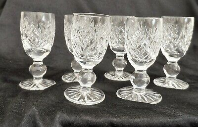 Six Waterford  Crystal Cut Sherry/ Liquer Glasses 3 .1/4 Inches  High