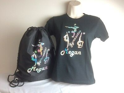 Girls Personalised 3 Gymnastics Black Sparkle GLITTER Shirt & Gym Bag Set  3-13