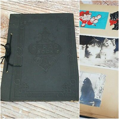 Vtg Photo Paste Kitty Cat Theme Scrap Book Tie Binding Ephemera 17 Pg 11.5x8.5