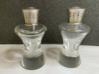 Steuben Glass - Two (2) Pepper Shakers With Sterling Silver Tops - Pair