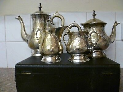 An Ornate Antique Four Piece Silver Plated Tea Set, Silver Plated Coffee Set