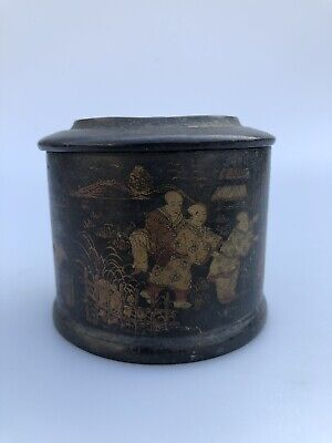 Antique Lacquered Papier Mache/Trinket Box With A Mirrored Lid, Chinese?