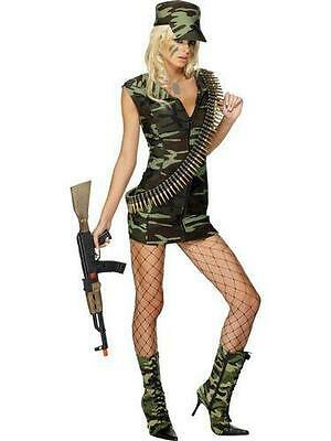 NEW Sexy Soldier Army Brat Woman's Military Camo Dress Costume Halloween Cosplay