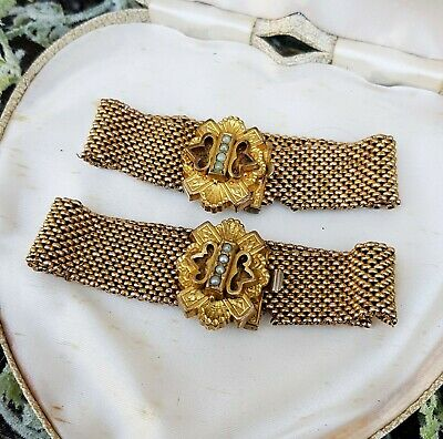 Antique Victorian Pair of Matching Gold Filled Mesh Bridal Wedding Bracelets