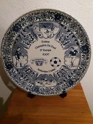 Uefa Euro Ek voetbal 2000 delfts blue wall plate Champion France verry rare!