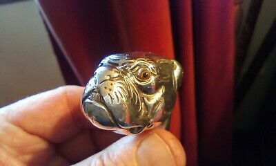 Antique Sterling Silver Bulldog Stick Handle .