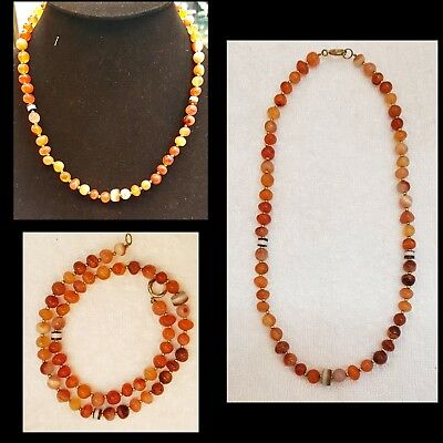 Antique Yeman Old Agate Stone Beads Wonderful Necklace  # A3