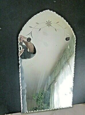 """Vintage Antique Etched Mirror Beveled Edge 18"""" Arched top"""