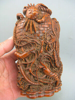 Antique Chinese old Boxwood Hand carved Crab Lobster Octopus Rare Brush Pot