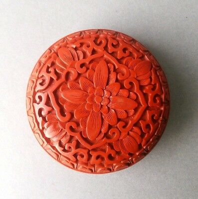 Chinese Red Cinnabar Small Round Box.