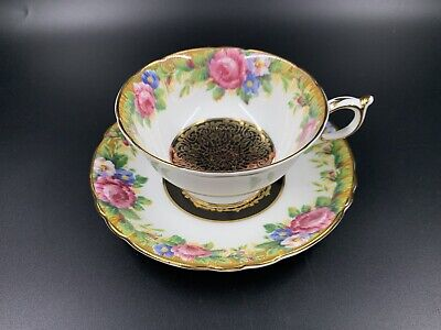 Paragon Tapestry Rose with Gold Lace Tea Cup Saucer Set England Bone China