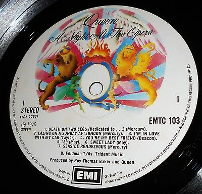 Queen A Night at the Opera 1975 Embossed  Original  Blairs A2 B3 EMTC 103