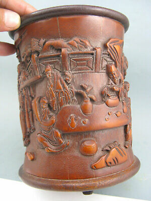 Antique Rare Chinese Old Bamboo Hand Carved Literati Collection 文人雅集 Brush Pot